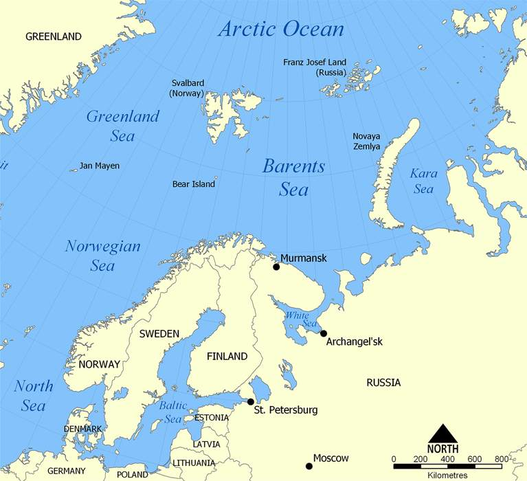 Barents Sea: Marginal sea of the Arctic Ocean, off the northern coasts of Norway and Russia