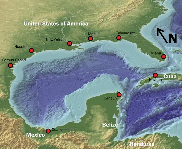 Gulf of Mexico: An Atlantic Ocean basin extending into southern North America