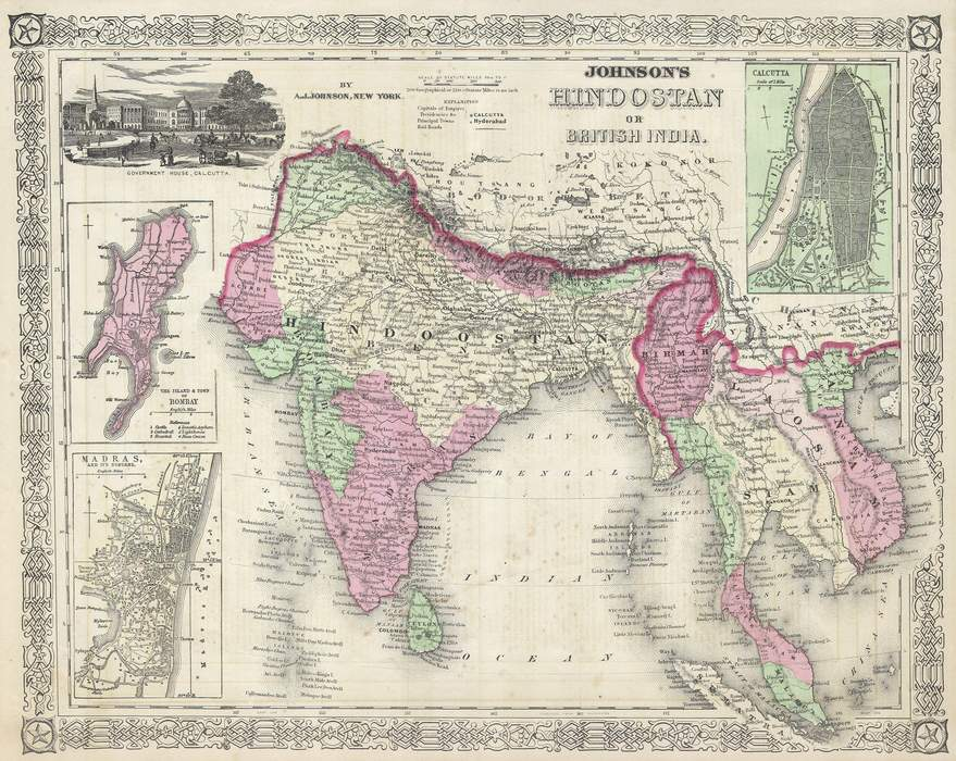 Hindustan: Historic and geographic term for the whole or part of the Indian subcontinent