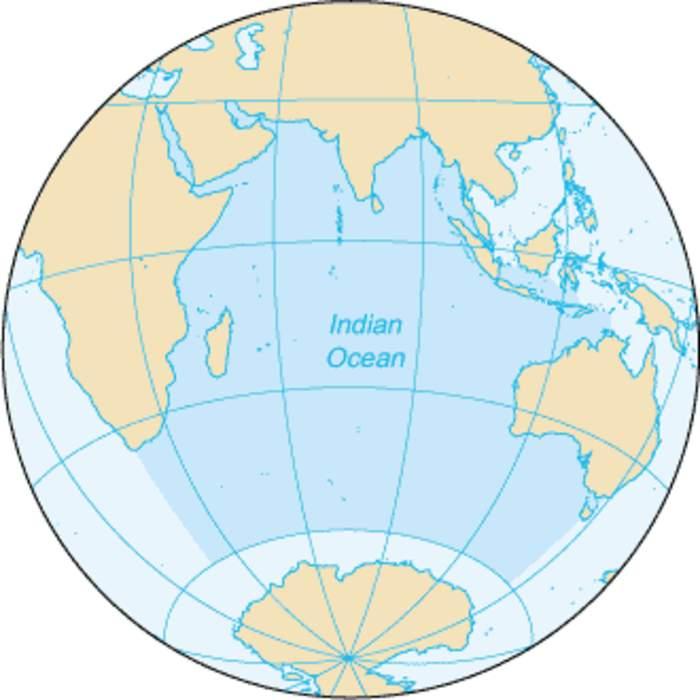Indian Ocean: The ocean between Africa, Asia, Australia and Antarctica (or the Southern Ocean)