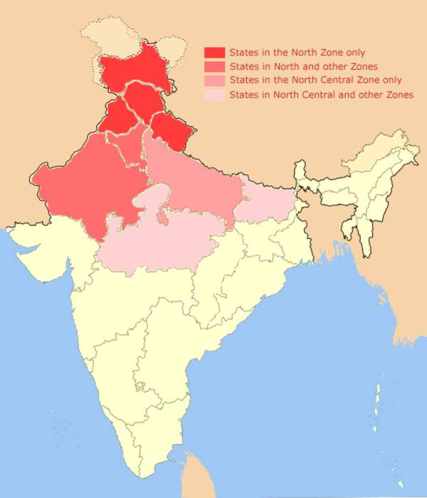 North India: Group of Northern Indian states