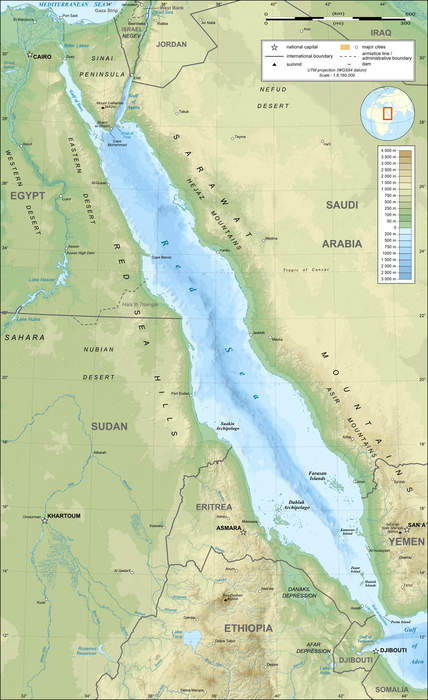Red Sea: Arm of the Indian Ocean between Asia and Africa