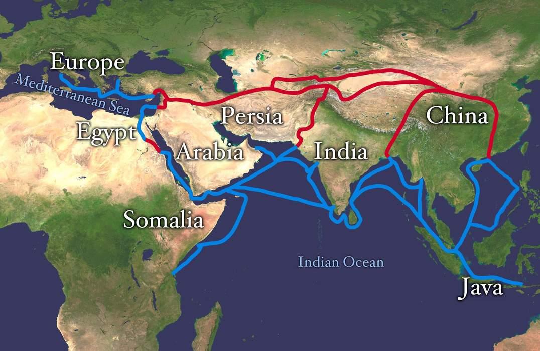 Silk Road: Trade routes through Asia connecting China to the Mediterranean Sea