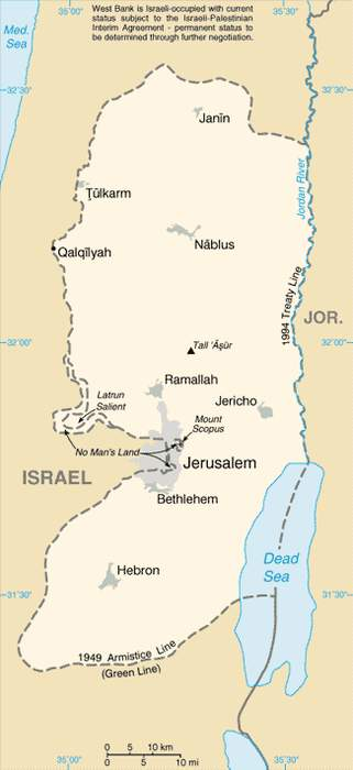 West Bank: Territory claimed by the State of Palestine