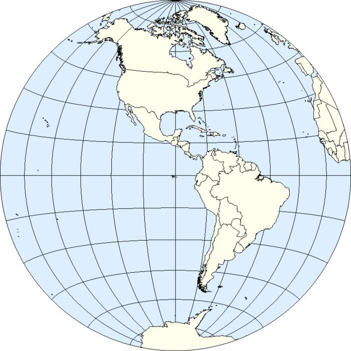 Western Hemisphere: Geographical term for the half of Earth which lies west of the prime meridian and east of the antimeridian